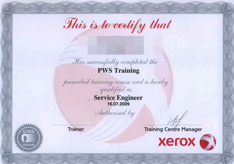 сертификат инженера Xerox